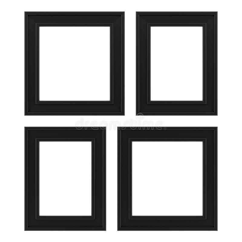 Fyra svarta ramar som isoleras på vit stock illustrationer
