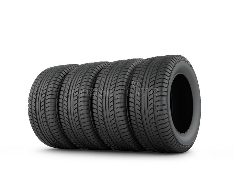 Fyra svarta rubber gummihjul vektor illustrationer