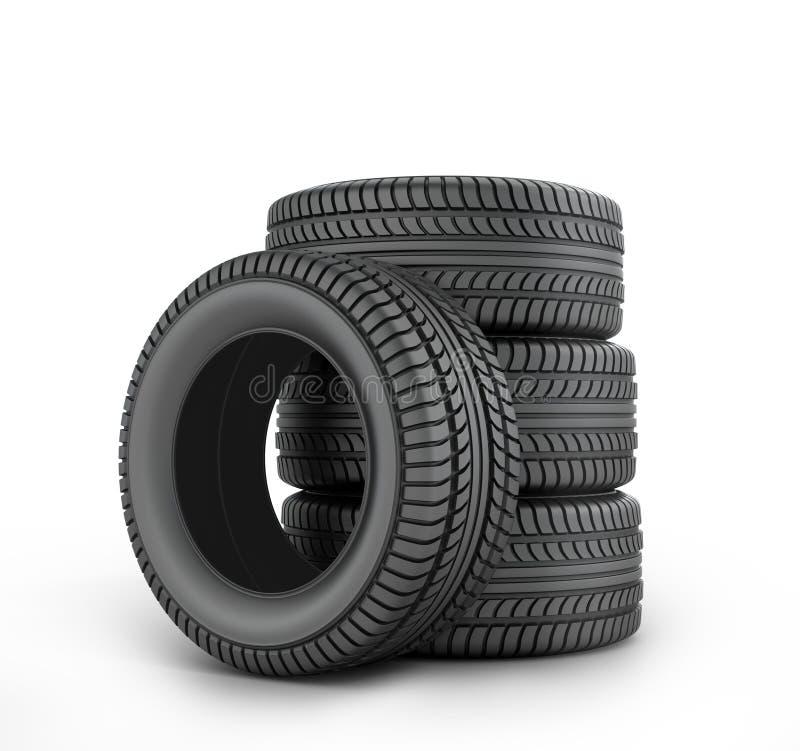 Fyra svarta rubber gummihjul stock illustrationer