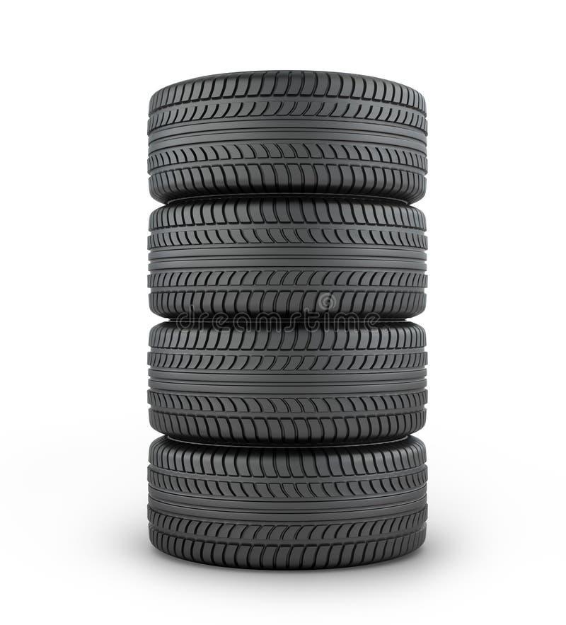 Fyra svarta rubber gummihjul royaltyfri illustrationer