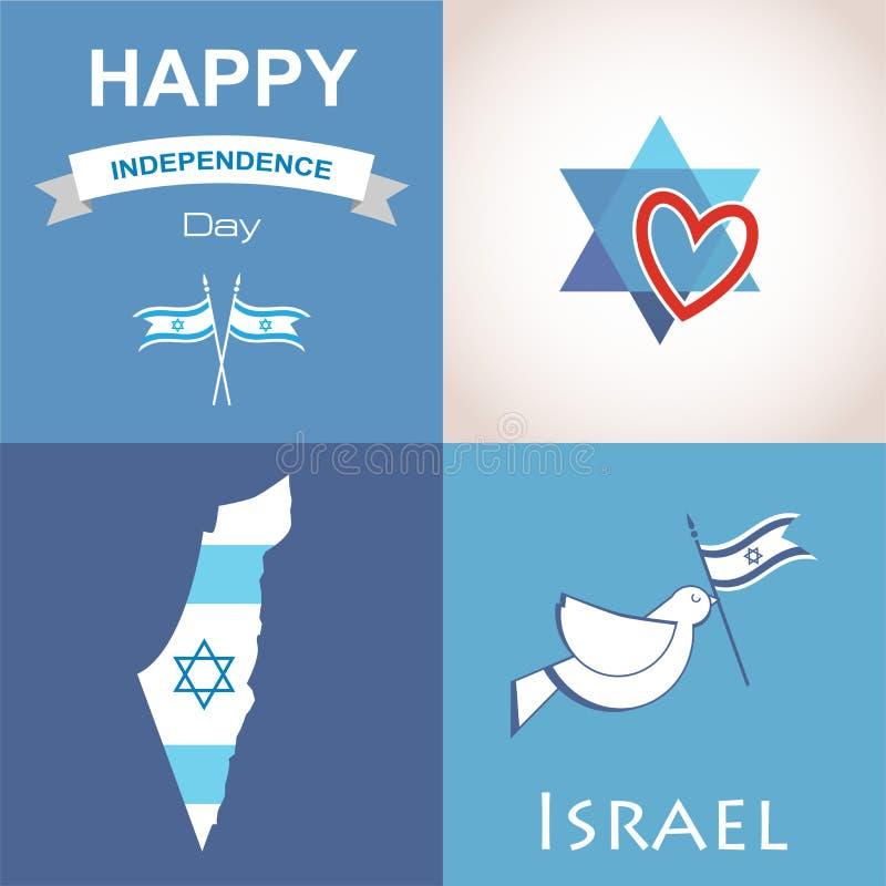 Fyra symboler av Israel stock illustrationer