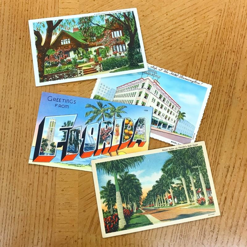 Fyra tappningFlorida vykort arkivfoto