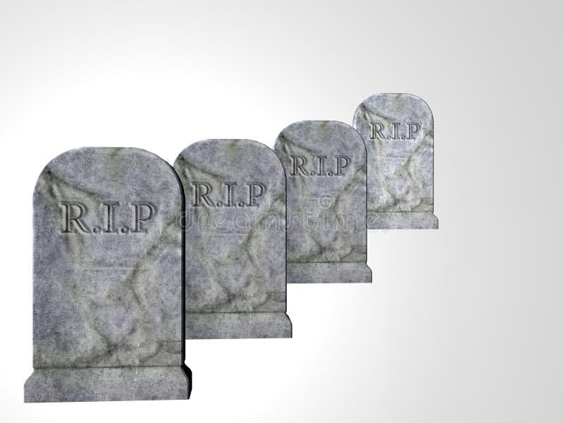 fyra tombstones stock illustrationer