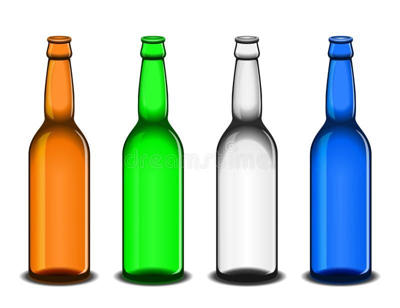 Fyra tomma ölflaskor stock illustrationer