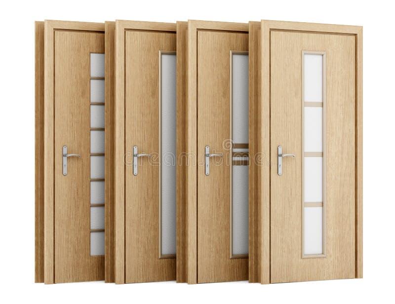 Fyra trädörrar som isoleras på vit stock illustrationer