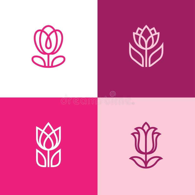 Fyra tulpansymboler stock illustrationer