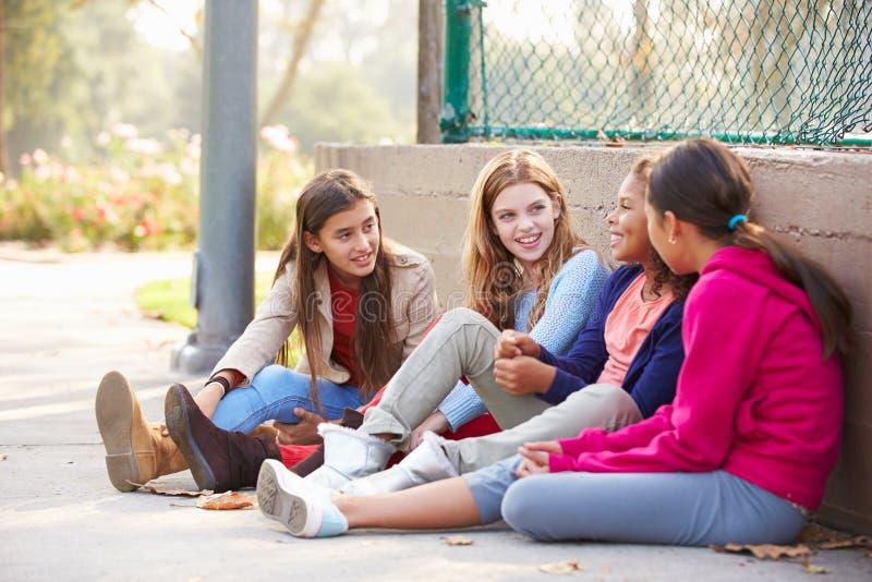 Fyra unga flickor som ut hänger i, parkerar tillsammans arkivbild