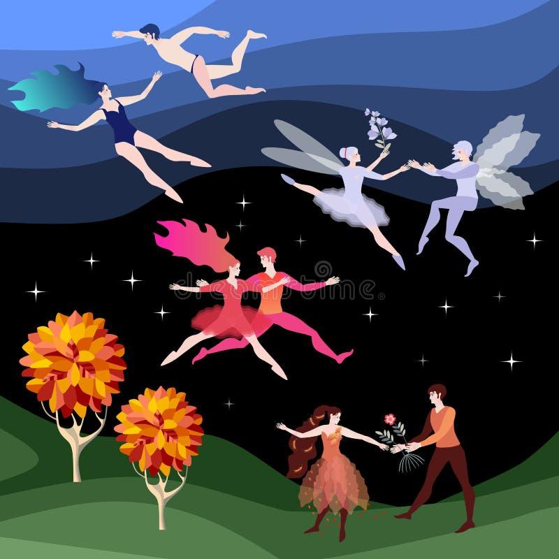 Fyra unga par som symboliserar fyra beståndsdelar av astrologi - vatten, brand, jord och luft Härligt fantasilandskap vektor illustrationer