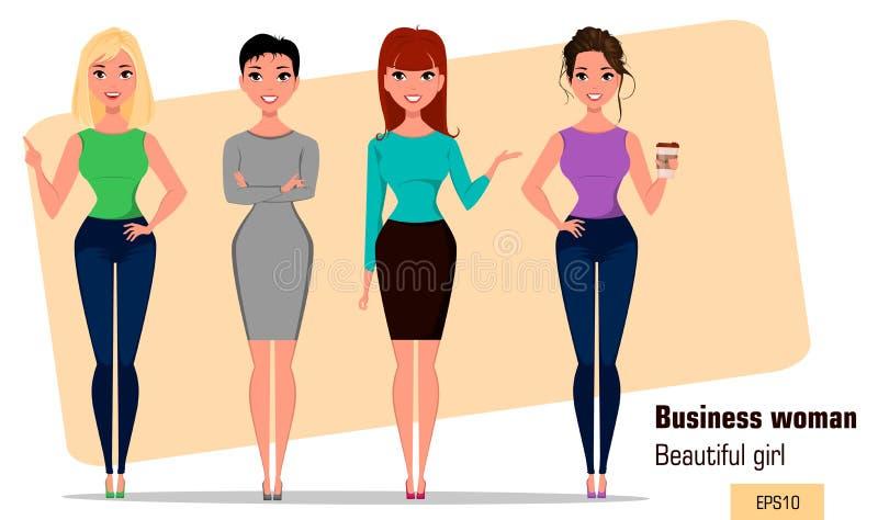 Fyra unga tecknad filmaffärskvinnor Uppsättning av härliga flickor i funktionsdugliga lägen Trendiga moderna damer stock illustrationer