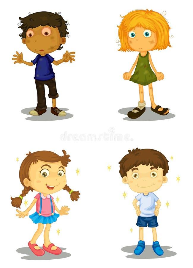 Fyra ungar vektor illustrationer
