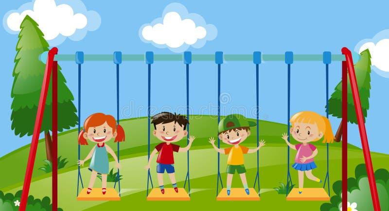 Fyra ungar på gungor i parkera stock illustrationer