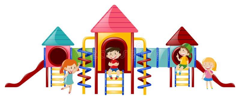 Fyra ungar på playstationen stock illustrationer