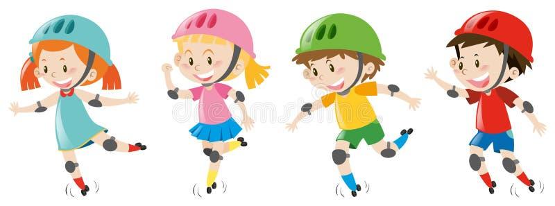 Fyra ungar som bär hjälmen vektor illustrationer