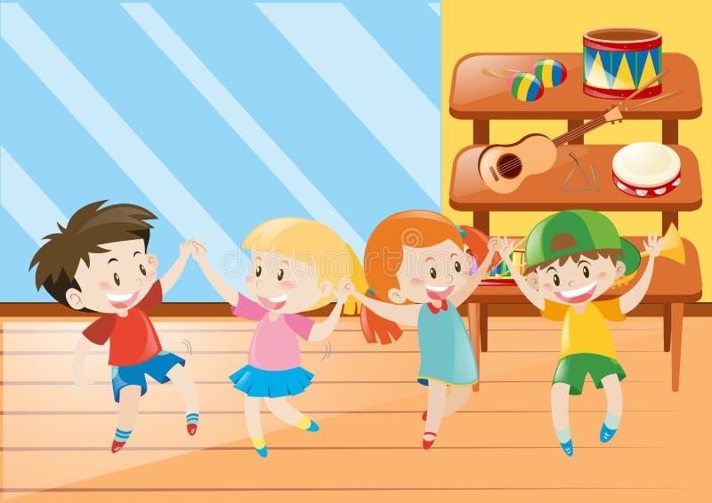 Fyra ungar som har gyckel i musikgrupp stock illustrationer