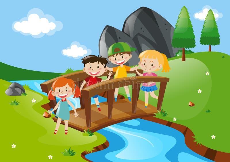 Fyra ungar som korsar bron vektor illustrationer