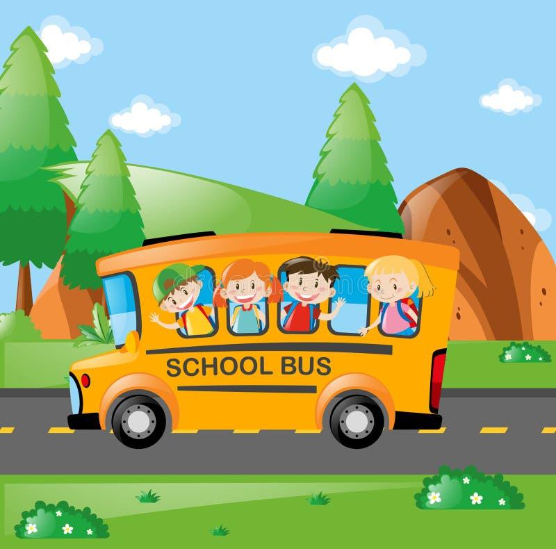 Fyra ungar som rider på skolbussen stock illustrationer