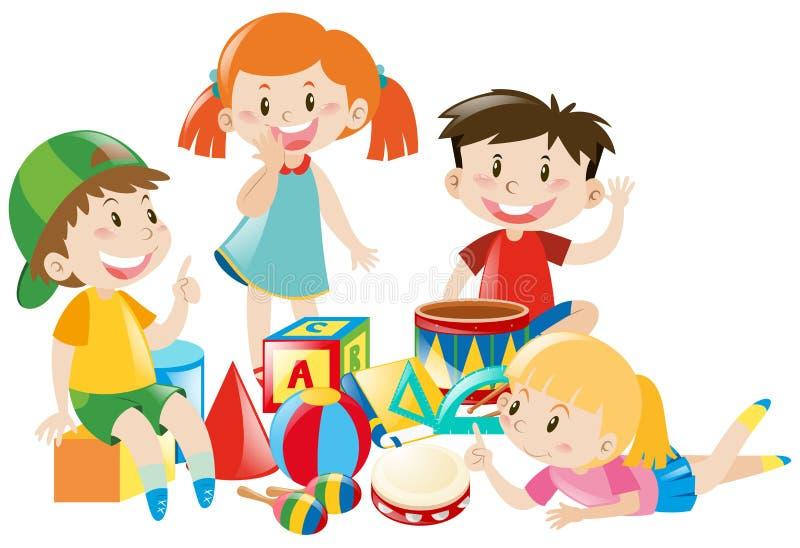 Fyra ungar som spelar med leksaker royaltyfri illustrationer