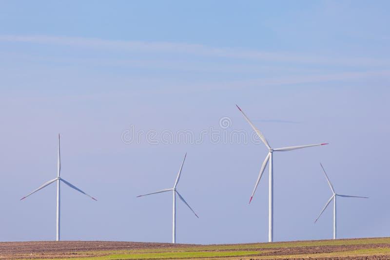 Fyra väderkvarnturbiner på jordbruks- fält med blå himmel i bakgrund förnybar turbinwind för energi royaltyfri foto