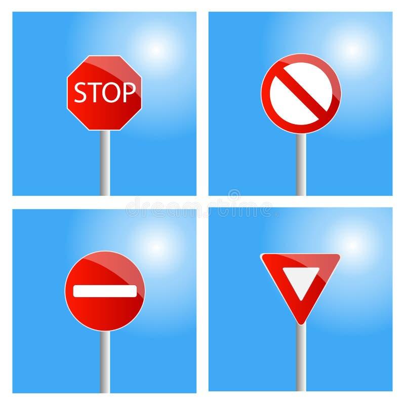fyra vägmärken royaltyfri illustrationer