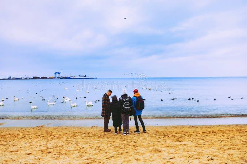 Fyra vänner promenerar stranden och blicken på havet _ Vatten lopp arkivbilder