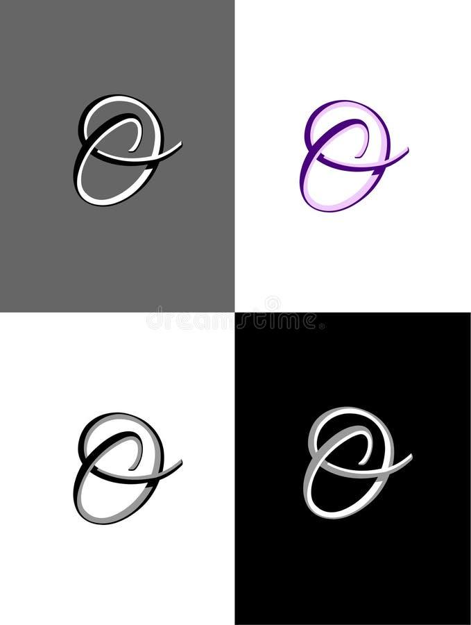 Fyra variationer av en utsmyckad nolla Logo Vector royaltyfri illustrationer