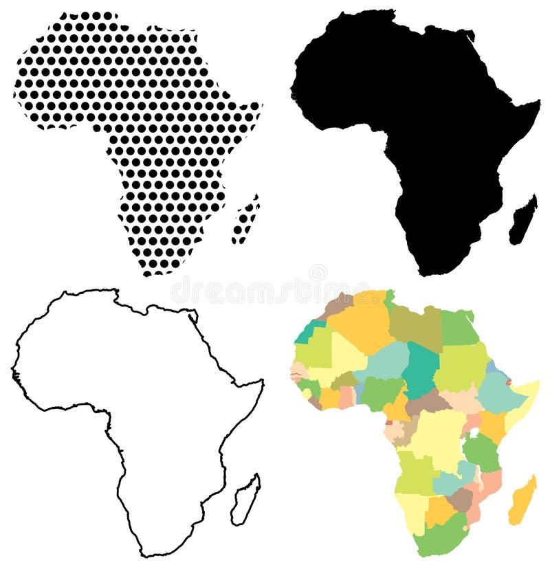 Fyra vektoröversikter av Afrika stock illustrationer