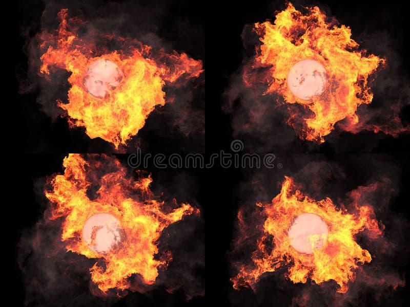 Fyra versioner Sfär i brand royaltyfria bilder