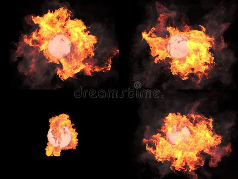 Fyra versioner Sfär i brand fotografering för bildbyråer