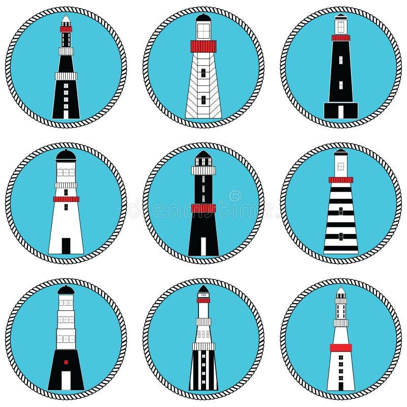 Fyrar varierar former och utformar in samlingsuppsättningen i nautiska färger i knuten cirkelform som föreställer den kust- tappn stock illustrationer