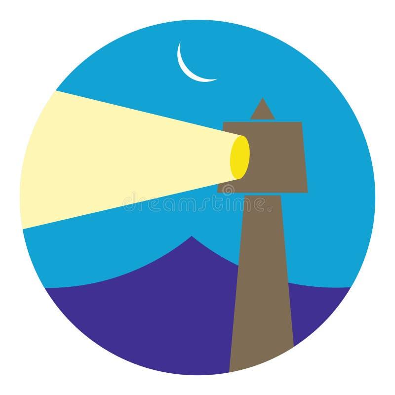 Fyrbyggnad i natten stock illustrationer