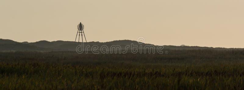 Fyren Ameland wadden, Baken ö Holland Nederländerna fotografering för bildbyråer