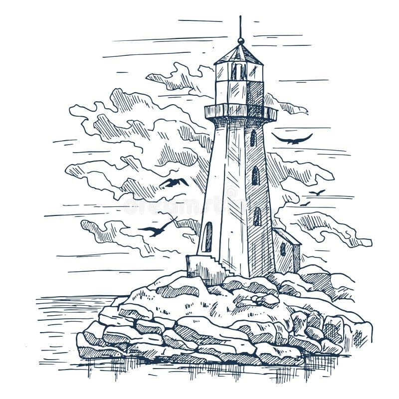 Fyren skissar på ön som göras av, vaggar vektor illustrationer