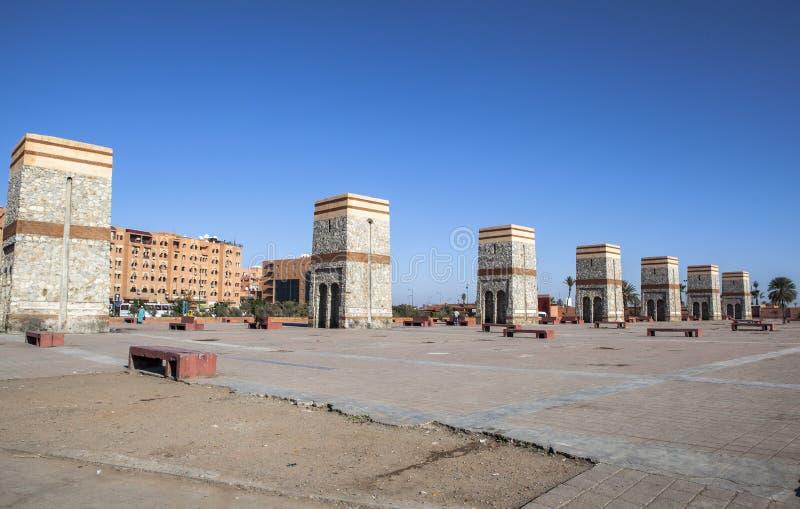Fyrkant av Marrakech, Marocko arkivbilder