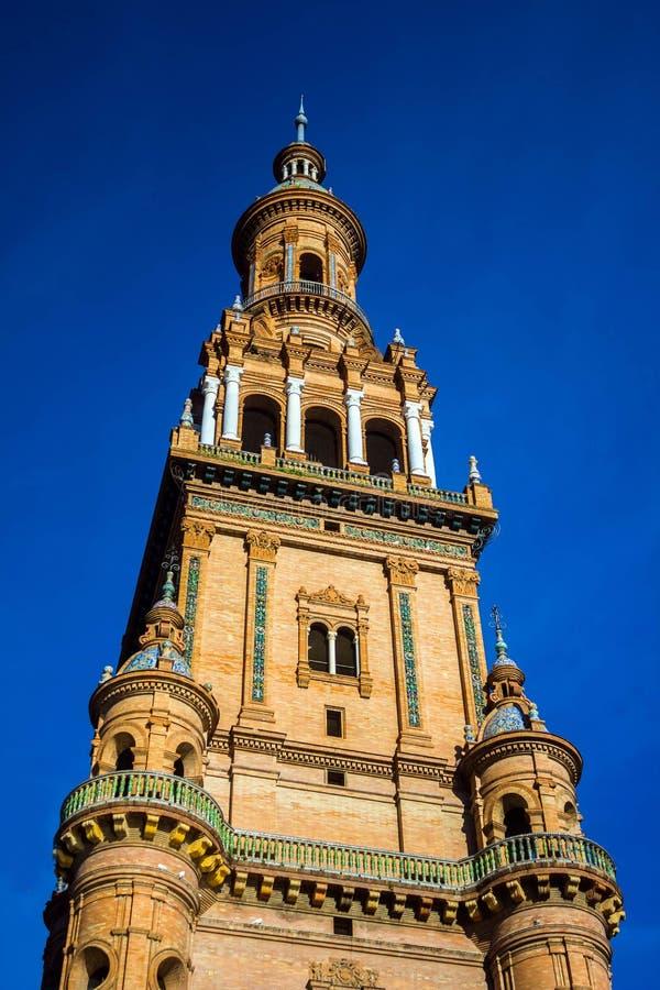 Fyrkant av Spanien i Seville, Spanien royaltyfri bild