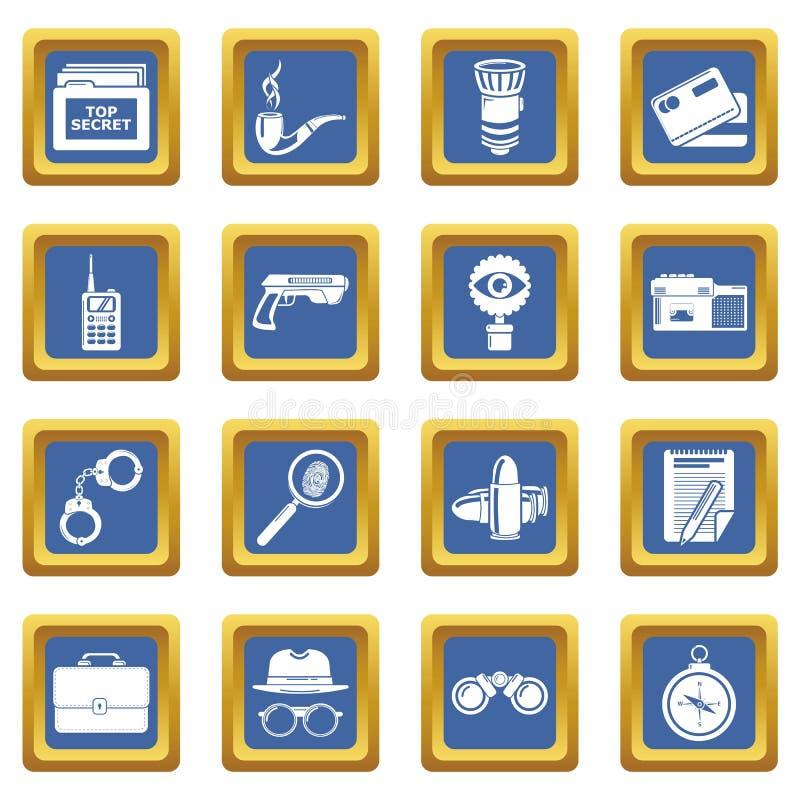 Fyrkant för blått för spionsymbolsuppsättning stock illustrationer