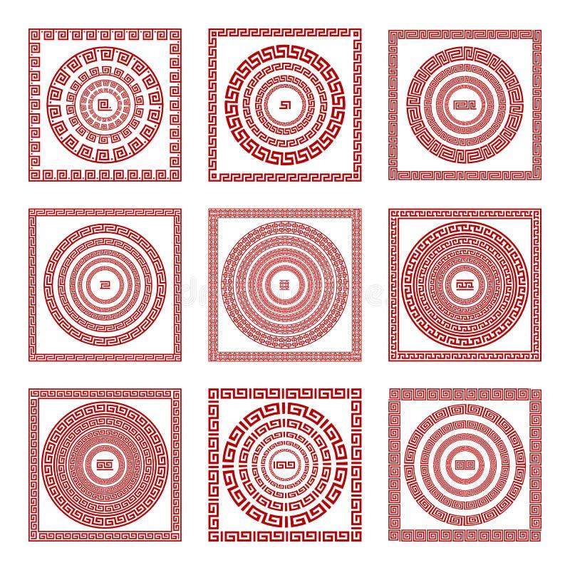 Fyrkant för fastställd traditionell tappning för vektor guld- och för prydnadslingringar för runda grekisk modell på en röd bakgr stock illustrationer