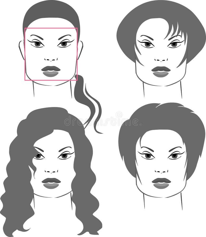 fyrkant för framsidafrisyrformer royaltyfri illustrationer