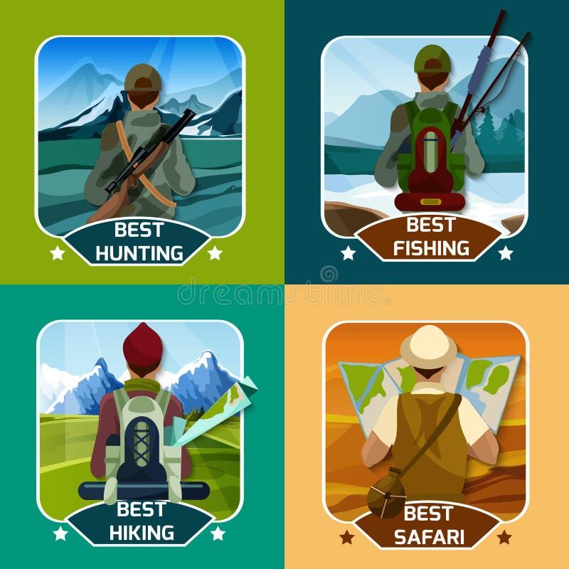 Fyrkant för jaktHking 4 plan symboler vektor illustrationer