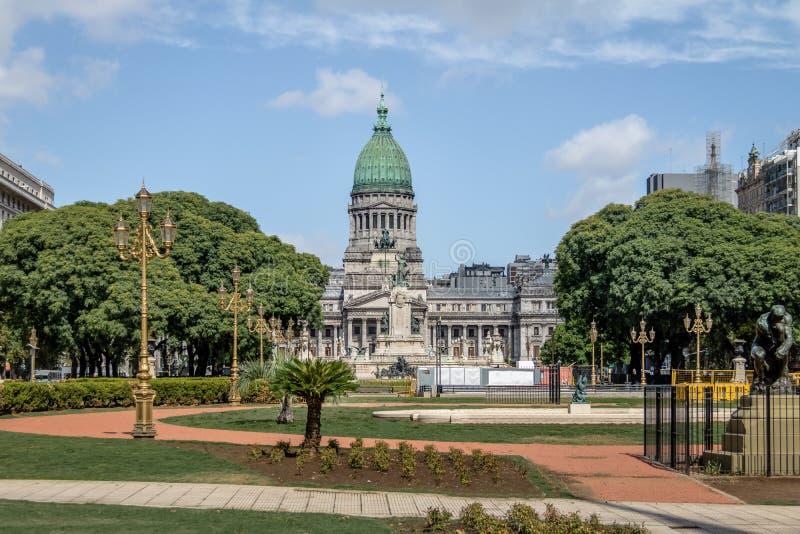 Fyrkant för PlazaCongreso kongress - Buenos Aires, Argentina royaltyfria bilder