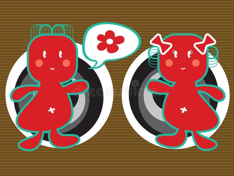 fyrkant för pojkeflickahuvud stock illustrationer