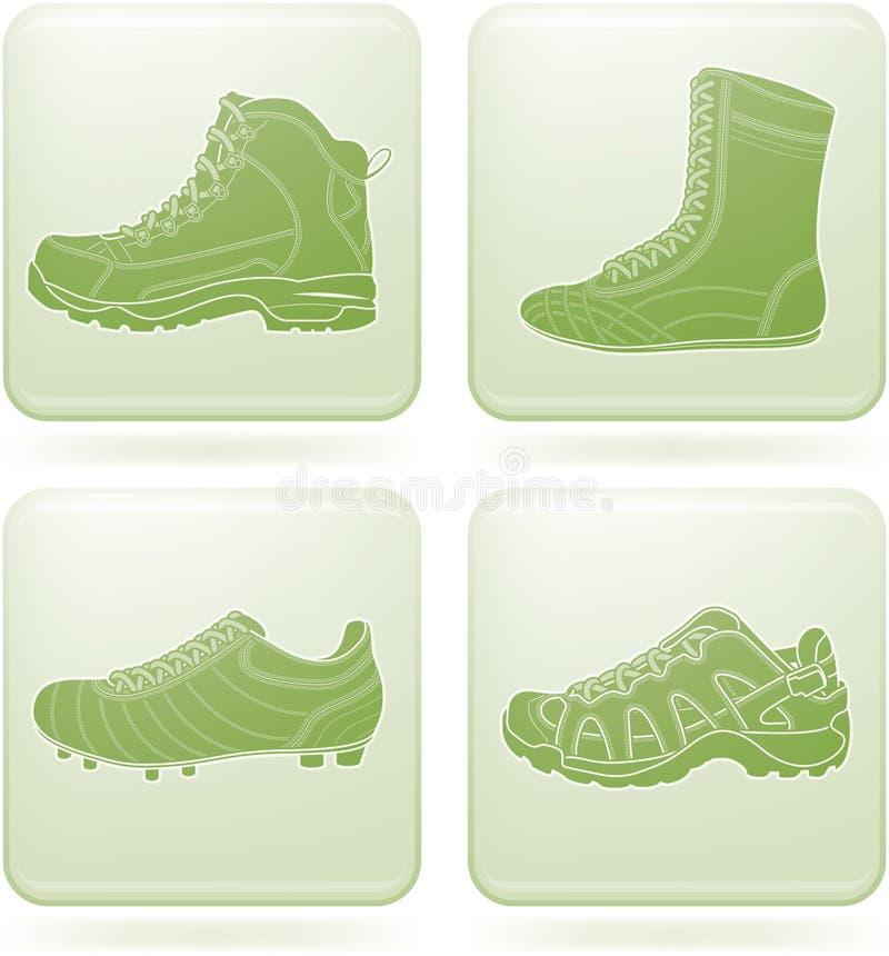 fyrkant för sport för skor för 2d symbolsolivine set vektor illustrationer