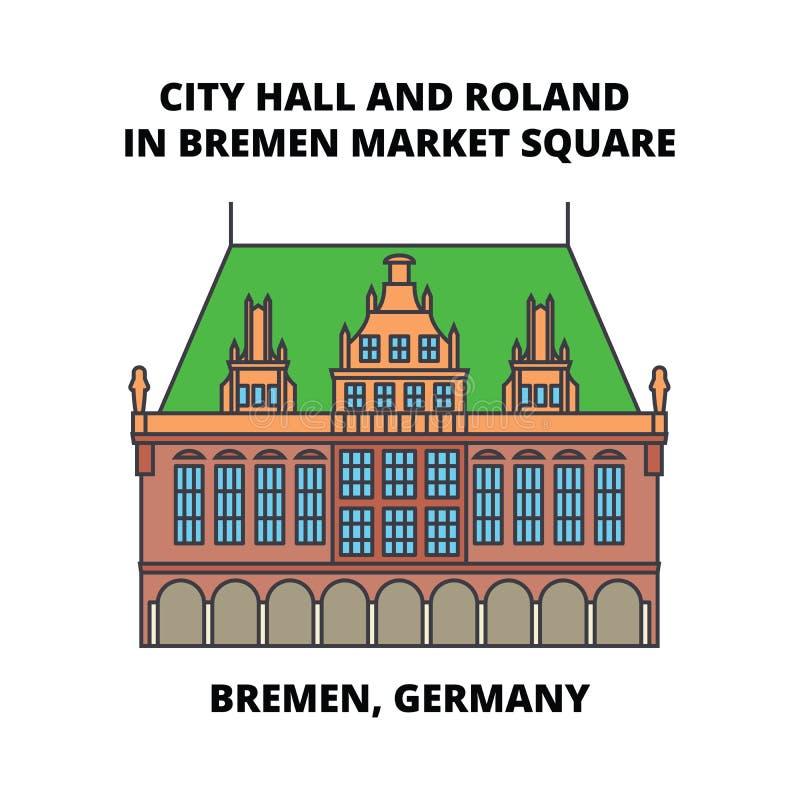 Fyrkant för stadsHall And Roland In Bremen marknad, Bremen, Tysklandlinje symbolsbegrepp StadsHall And Roland In Bremen marknad stock illustrationer