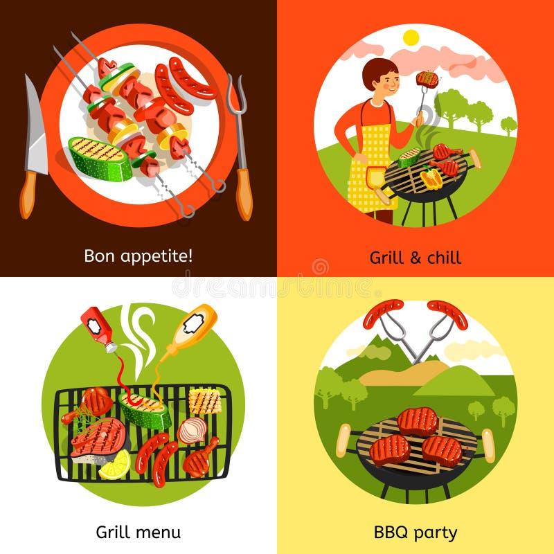 Fyrkant för symboler för grillfestparti 4 plan stock illustrationer