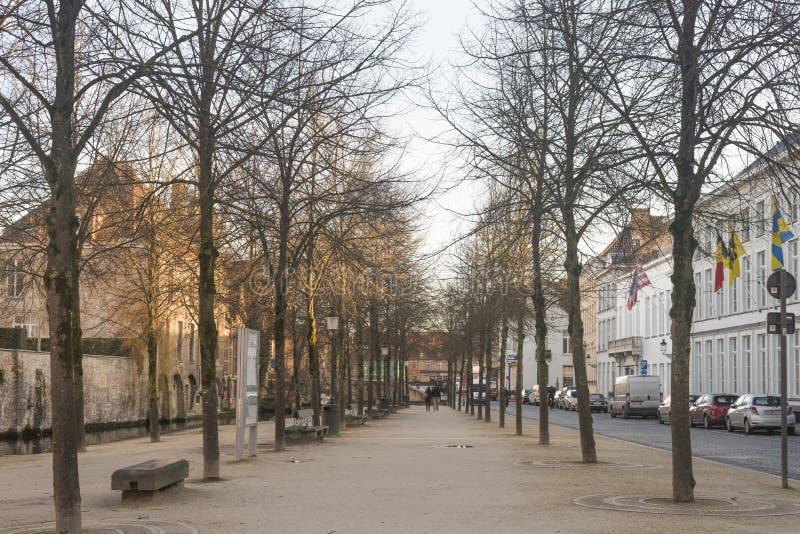 Fyrkant i Bruges arkivfoton