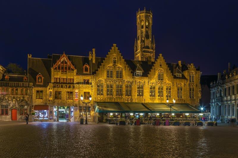 Fyrkant i Bruges, Belgien arkivfoton