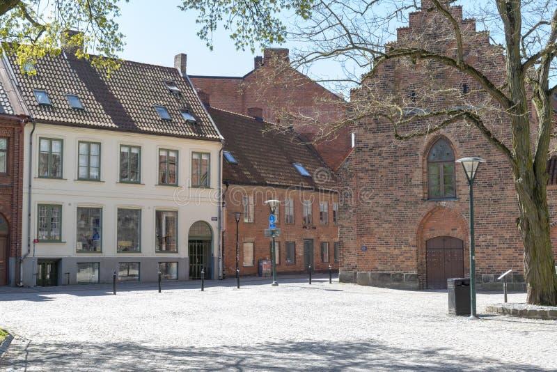 Fyrkant i stad av Lund i Sverige arkivbilder