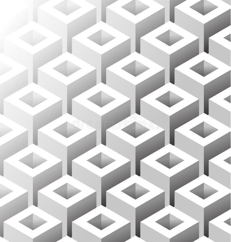 Fyrkant isometriska Grey Seamless Pattern vektor illustrationer