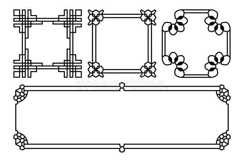 Fyrkant- och rektangelvektorasiat, korean, kines, japan royaltyfri illustrationer
