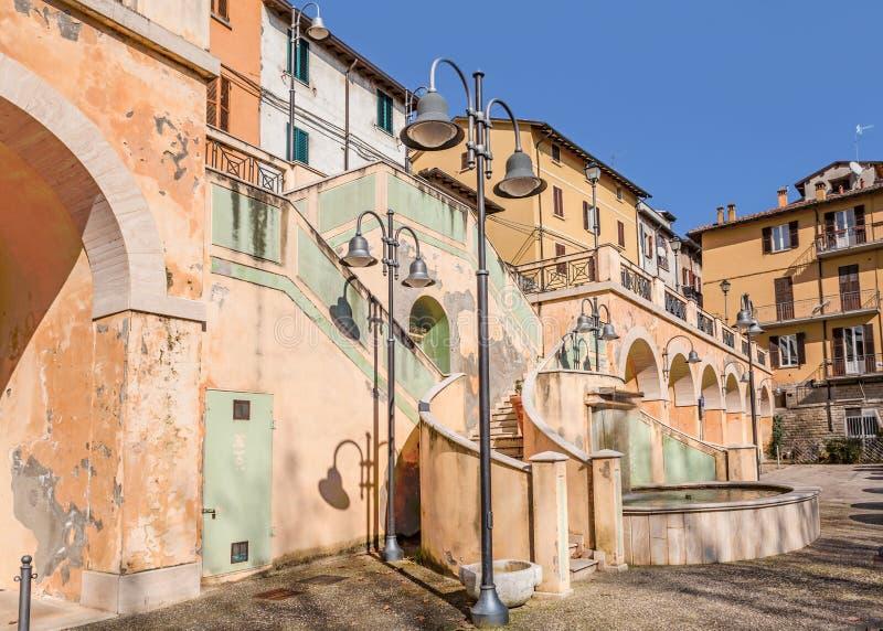 Fyrkanten av Castrocaro Terme, Italien arkivfoto