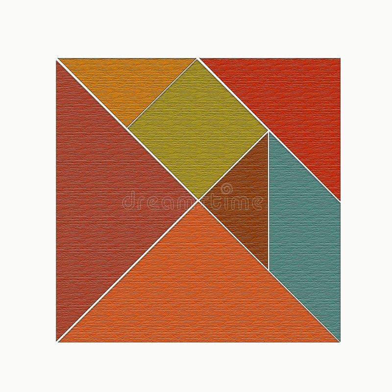 Fyrkanten delade in i diagram, tangram vektor illustrationer